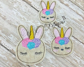 Bunnicorn Feltie Little Bunny Head Feltie 1 Embroidery File