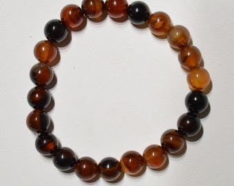 Jewelry - Bracelet banded agate bead 8 mm - Natural banded agate bead bracelet