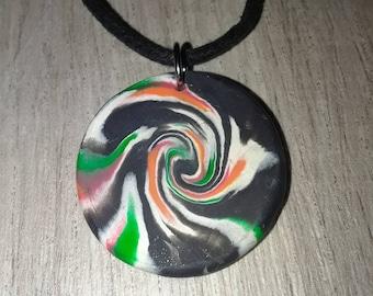 Swirl pendand, polymer clay