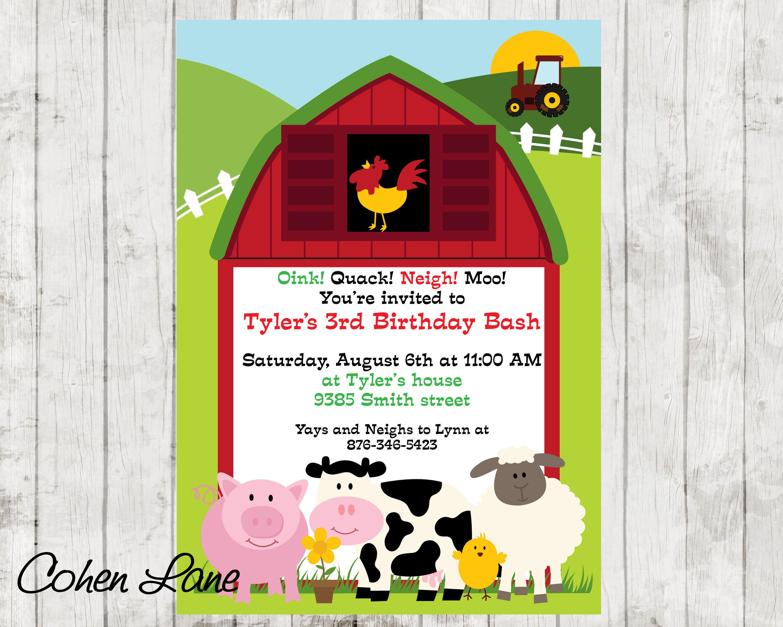 Farm Invitation. Barnyard Party Invite. Barn Invite. Farm