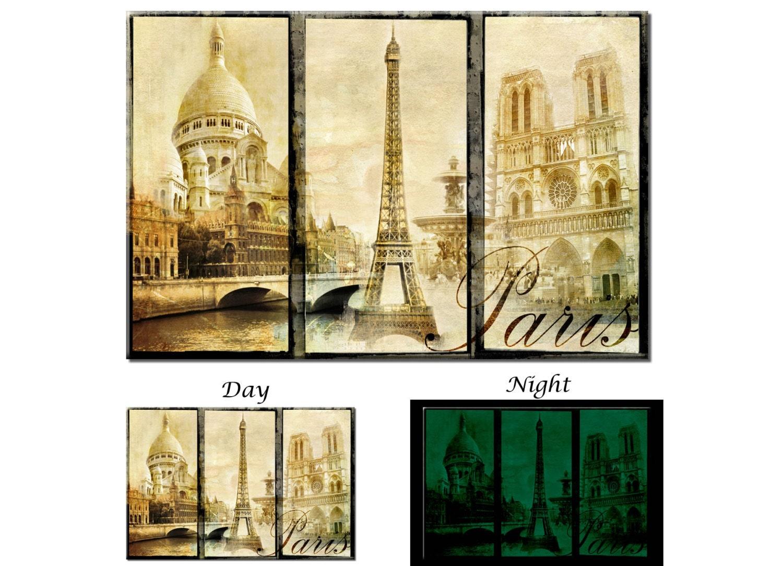 Glow in the Dark Canvas Wall Art Vintage Eiffel Tower Paris