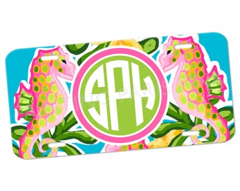 Monogram License Plate | Seahorse Monogram | Aluminum | Island Collection | FREE SHIPPING