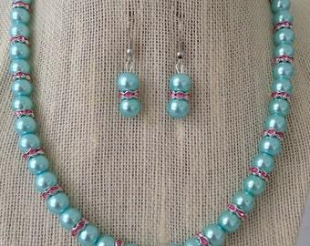 Aqua Blue Pearl Wedding Jewelry, Robin Egg Blue Pearl Necklace, Bridesmaid Gift, Rhinestone Bridal Jewelry, Blue Pearl Necklace
