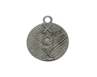 Round XOXO Pendant -- Oxidized Sterling Silver Hammered Pendant (S98B7-22)