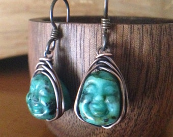 Turquoise Carved Buddha Copper Herringbone Wrap Earrings with Niobium Ear Wires