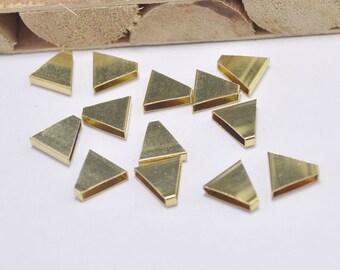 20pcs Raw Brass Triangle Pendant,Raw Brass Triangle Tube Bead Charm,Geometric Jewelry Supply 10x10x3mm