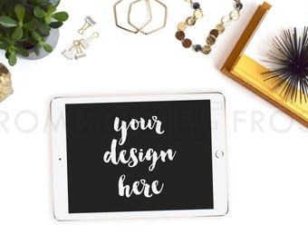 Styled Stock Photography | Gold Sea Urchin, iPad, Owl, Succulent, Necklace, Bangles on White Tech Desktop | Product Mockup | Digital Image