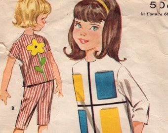Butterick 2301 1960s Girls PULLOVER TOP Pattern Flower Cat Applique Size 6 Or Toddlers Vintage Sewing Pattern Pants and Top Size 2 Breast 21