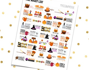 FALL BUCKET LIST // Printable Planner Stickers / Erin Condren Plum Paper Happy Planner Filofax Inkwell Press Autumn Pumpkins Halloween Candy