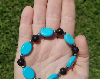 Natural Turquoise and Lava Bead Aromatherapy Bracelet, Diffuser Bracelet, Essential Oils Diffuser, Wearable Diffuser, Natural Stone Beads