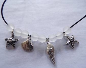 Seashells,starfish and seaglass choker