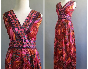 Vintage 1960s Psychedelic Gown Hot Pink Floral Diva Hostess Dress Groovy Silk Dress 60s Mod Indian Ethnic Summer Red Maxi Dress Avant Garde