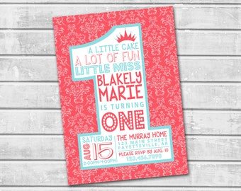 1st Birthday Invitation, Pink Birthday Invitation, Invitation, 1st Birthday, One, First Birthday, Birthday, Printable Invitation, 5x7