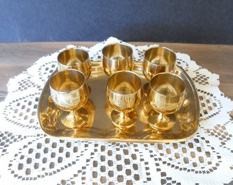 Vintage Brass Small Goblets with Tray,Liquor glasses,Shot glasses,Tiny Brass Goblets,Set of 6 and serving Tray,Made in India