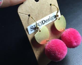 Hot pink pom pom earrings, brass earrings