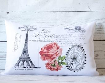 "Eiffel Postcard - 12 x 18"" Lumbar Cushion Pillow Cover French Shabby Vintage Chic - UK Handmade"