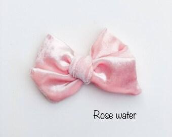 Rose water velvet bow