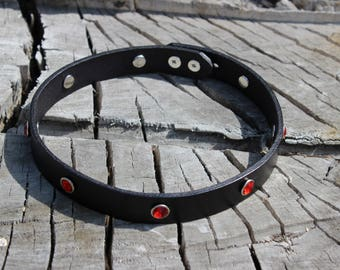 Leather Choker with Rhinestones