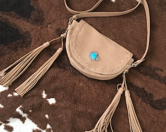 Half Moon Tan and Turquoise Day Purse