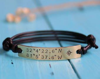 Personalized coordinates bracelet, customized coordinates bracelet, latitude longitude bracelet, Valentine's day gift anniversary bracelet