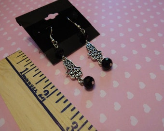 Hands Charms Black Crystal Beaded Dangle Earrings