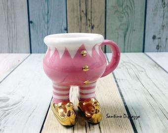 Tazza d'oro Elfette Espresso, tazza Demitasse Natale, ceramiche a piedi, elfo di Babbo Natale, Xmas Pixies Cup, rosa e tazza di caffè oro, grazioso regalo