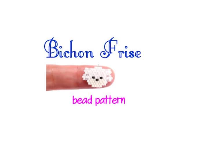 Bichon Frise Dog Brick Stitch Beading Pattern, Miyuki Delica Seed Beads