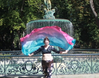 Mermaid's Lagoon Silk Bellydance Veil, Bellydance Costume Veil, Auqamarine and Bright Pink silk bellydance veil