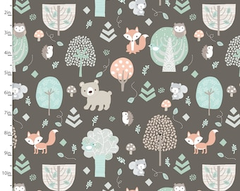 Woodland Animal Fabric, Fox, Bear, Squirrel Owl Quilt Fabric, 3 Wishes Little Forest 12948 Brown, Woodland Baby Fabric, Cotton Yardage