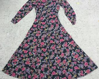 90's black floral dress XS long mid calf button front Express princess seams rayon crepe Victorian boho grunge