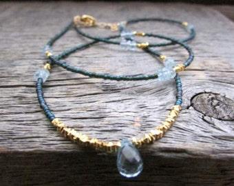 Topaz Wrap Bracelet, Blue Topaz Bracelet, Gemstone Bracelet, Beaded Bracelet, December Birthstone Bracelet, November Birthstone Bracelet