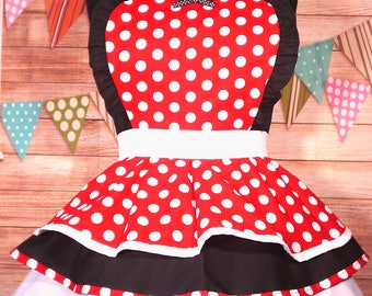 Red and Black Polka Dot Fun and Cute Retro Cute Diner Apron XL Handmade