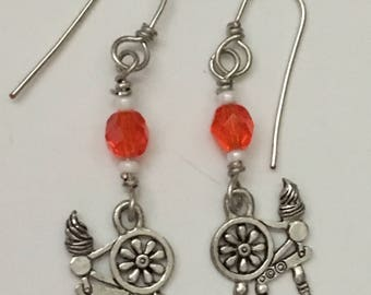Spinning Wheel Earrings with Red Bead