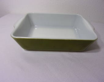 "Vintage 1953 Pyrex Green Baking Dish 9""x7""  Corning Rectangle Casserole Dish - Heinz Promo Baker"