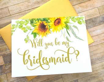 bridesmaid proposal card - will you be my bridesmaid - sunflower watercolor bridesmaid proposal - maid of honor - flower girl - SUNBEAMS