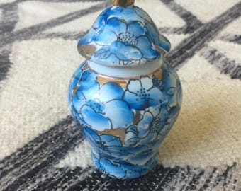 Blue and Gold Floral Ginger Jar