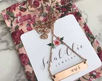 Handstamped Necklace, Handstamped Jewelry, Bar Necklace, Bar Necklace Personalized, Bar Necklace Initials, For Her, Necklaces For Women
