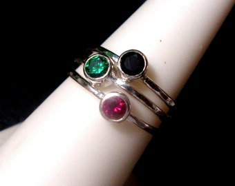 Rings Africa Set OF 3 tube bezel set 4mm Red, Green & Black - eco friendly sterling silver recycled  PEACE Custom made in USA by me