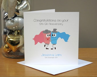 Personalised 12th Anniversary Card - Silk Anniversary Card - Funny Anniversary Card - Cartoon - For Husband/Wife - For Couple - For Him/Her
