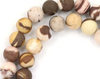 Brown Zebra Jasper Beads - Matte Finish - 6mm Round