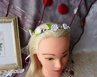 White Satin Flower Wedding Crown/Flower girl Crown/Country Wedding Flower Crown/Floral Kanzashi Crown/Rustic Wedding/Country Wedding Crown