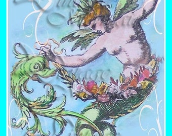 s188 MERMAID FABRIC MERMAN Card Print Block Cotton Fabric Applique for Quilting Quilts & Blankets