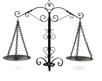 Vintage Curly Wrought Iron Black Metal Castle Decor Scales of Justice