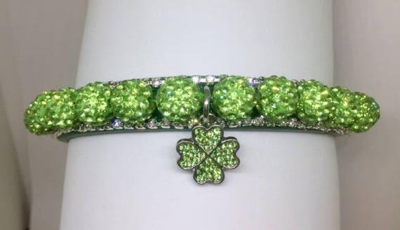 Cutie Pie Pet Collars TM ~Green Shamrock Irish Disco Ball~ Crystal Diamante Rhinestone Pet Dog Cat PU Leather Collar USA