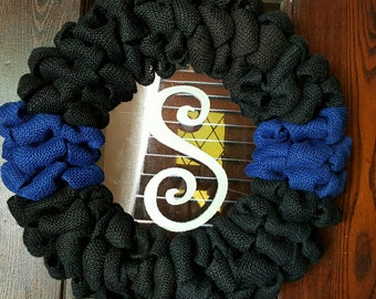 Police Burlap Black and Blue Wreath WITHOUT LETTER