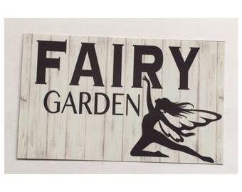 Fairy Garden Sign -  Children Kids Girl Vegetable Outdoors Seeds Gardening Hanging Rustic Magical