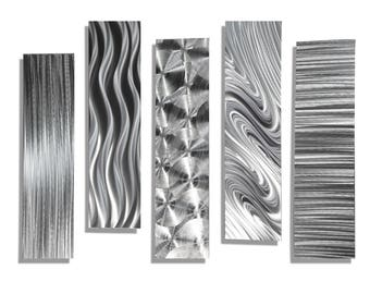 SALE! Silver Metal Abstract Modern Wall Art Sculpture - 5 Easy Pieces by Jon Allen