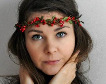 Christmas hair Bridal crown Red green floral crown wedding Flower hair wreath Wedding flower crown bridal headband Flower Hair