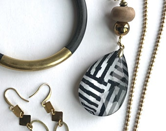 Black & White Necklace with Tribal geometric pattern with Brass ball chain and vintage beads makes a statement.