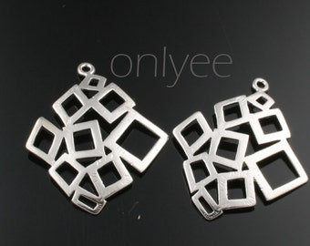 4pcs-29mmX25mm Rhodium plated over Brass Multi square pendants(K269S)